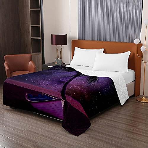 Oduo Vadderat sängöverkast mjukt mikrofiber lätt täcke täcke, dubbel kung lyx quiltade täcken bäddsoffa sängkläder för sovrumsdekor (lila natt, 150 x 200 cm)
