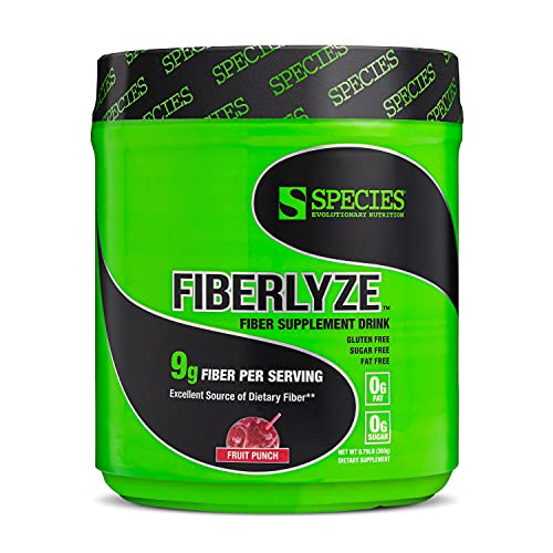 Species Nutrition Fiberlyze Fiber Supplement, Psyllium Based Soluble & Insoluble Fiber Powder for Healthy Colon, Digestive Functions, Supports Cholesterol Levels & Heart Health (Fruit Punch, 30 Servings)