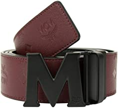 MCM Burgundy Leather Reversible Embossed Monogram Belt MXB8AMM48NK130 (2XL)