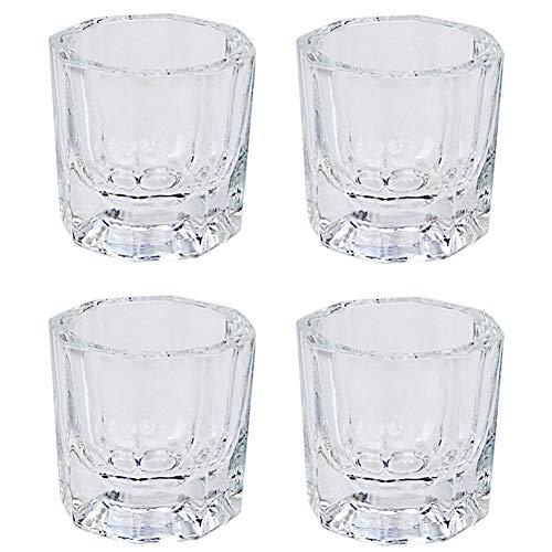 4 Pcs Mini Glass Crystal Cup Nail Art Acrylic Liquid Powder Dappen Dish Bowl Glassware Nail Art Tools
