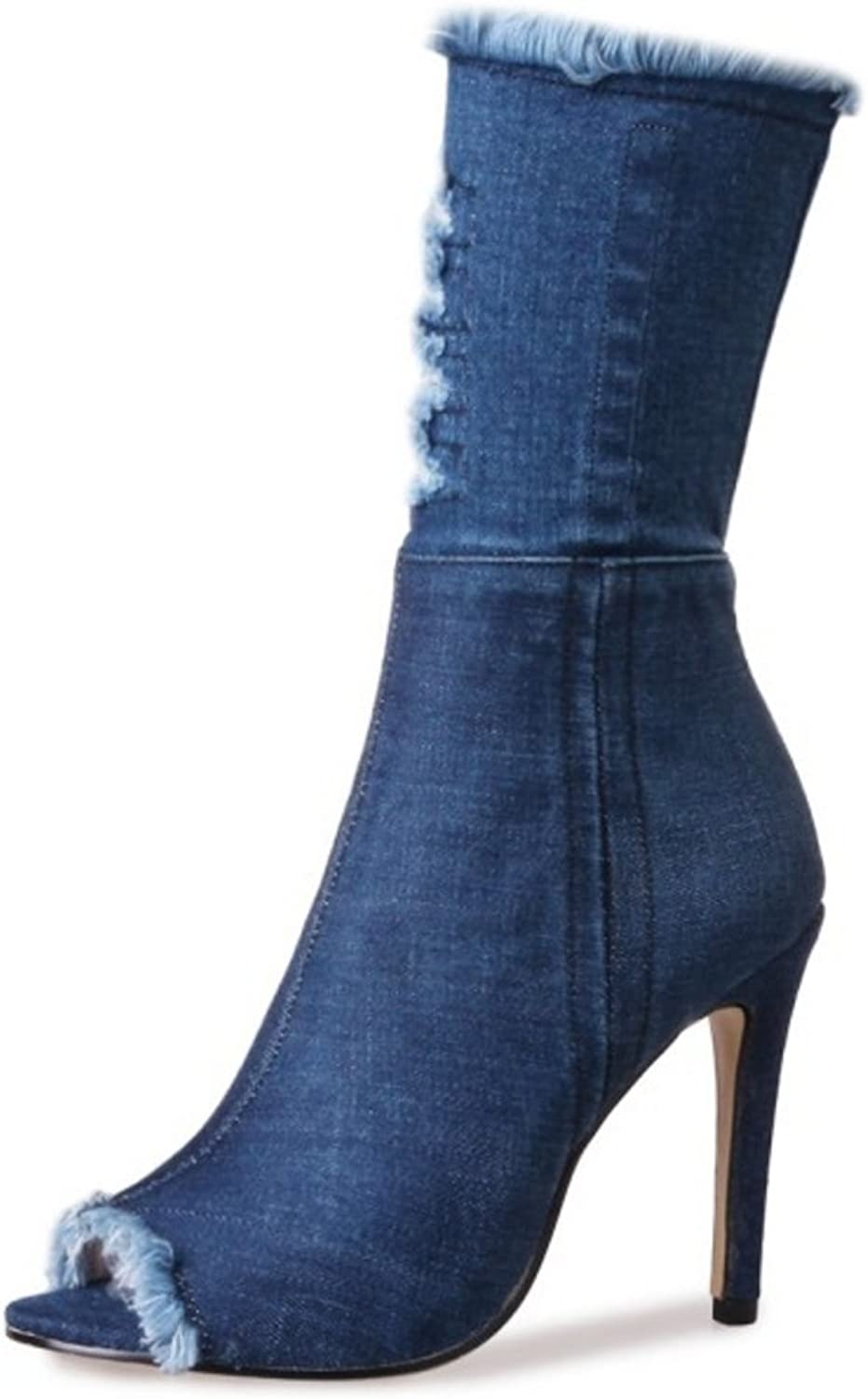 TAOFFEN Women Autumn Winter bluee Denim Peep Toe High Heel Long Boots Zipper