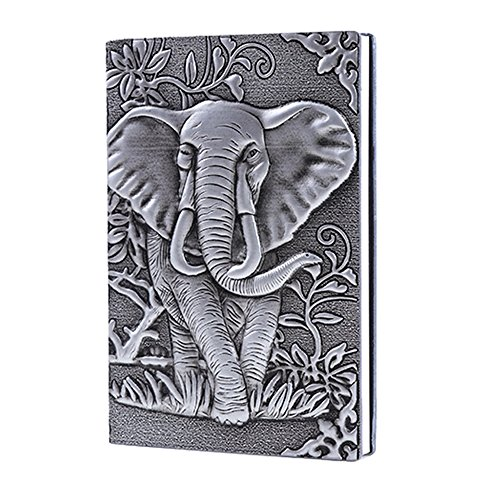 Leather Journal Writing Notebook - Antique Handmade Leather Daily Notepad Sketchbook, Elephant Gift For Men & Women, Travel Diary & Notebooks to Write in (Silver, A6)