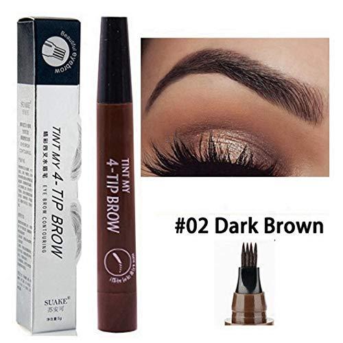Tattoo Augenbrauenstift mit 4Tips Wischfest Langanhaltendes wasserdichtes Eyebrow Gel für Augen Make-up, Dunkelbraun