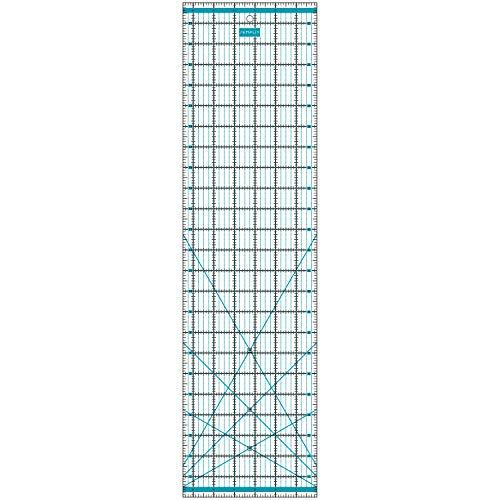 SEMPLIX Patchwork-Lineal Quilt-Lineal, transparent, mit Inch-Skala und Winkelfunktionen, ideal für Patchwork und zum Basteln, 24 x 6,5 inch (türkis)