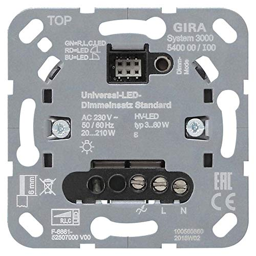Gira Uni-LED-Dimmeinsatz 540000 Standard Designneutral Dimmer 4010337047995