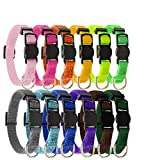 BINGPET Puppy ID Collars 12 Pcs -Soft Nylon Adjustable Reflective Identification Collars -Whelping Litter Collars with Record Keeping Charts