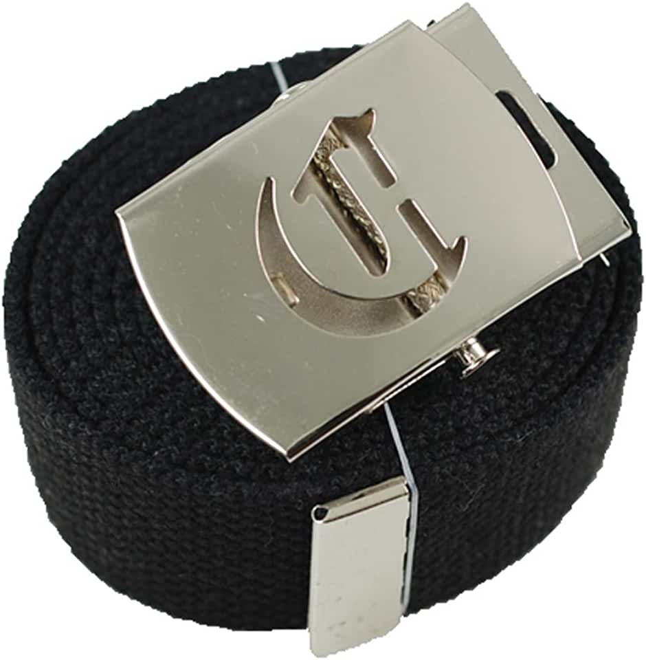 ACCmall Old English Initial C Canvas Military Web Black Belt & Silver Buckle 60 Inch