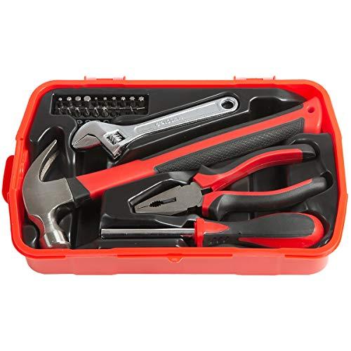 newpo Basis-Werkzeug | 24 Teile | Werzeugkasten Werzeugkoffer Werkzeugset Hammer Zange Schraubendreher Schraubenschlüssel