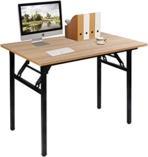 Need 39.4 inches Computer Desk for Small Space Small Folding Table Small Writing Desk Compact Desk Foldable Desk with BIFMA Certification, No Install Needed, Teak AC5-10060-BB