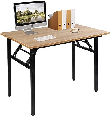 Need Bureau d'Ordinateur Informatique Pliante 100x60cm Table d'étude/à dîner Pliable pour Maison/Bureau, Teck Chêne Couleur AC5BB-100