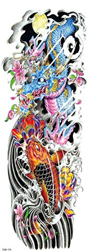 4 Fogli Tatuaggi Temporanei Per Adulti Uomo Donne Bambini, Impermeabile Tatuaggio Temporaneo Moda Adesivi Body Art Neri Realistico Braccio Spalla Di Tatuaggi Club Vacanze Festa Dragon Koi Lotus