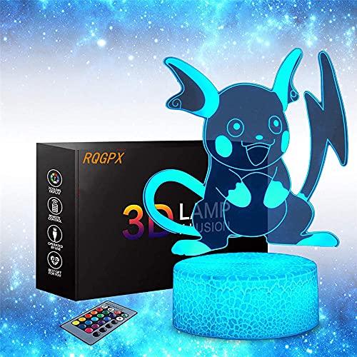 Pikachu Lámpara 3D Iluminación Led USB Niños Dormitorio Decoración como Navidad Navidad Regalo de Cumpleaños para Niños Niñas