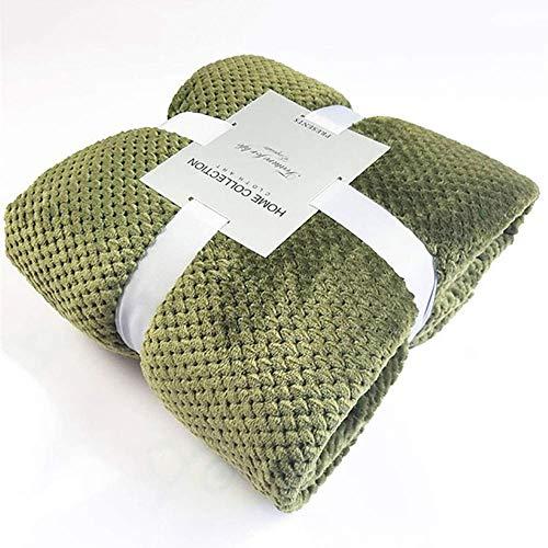 ZGYZ Manta cálida de visón, Manta Suave para sofá Cama, Manta Reversible de poliéster, esponjosa, Multicolor, Verde Oliva 100x120cm (39x47 Pulgadas)