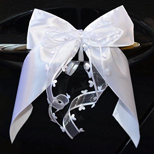 Miya@ 10 hochwertige Handgemacht Weiss Antenneschleifen mit Herzschleifen aus Satin, Auto Schleifen, Hochzeit Deko, Autoschmuck