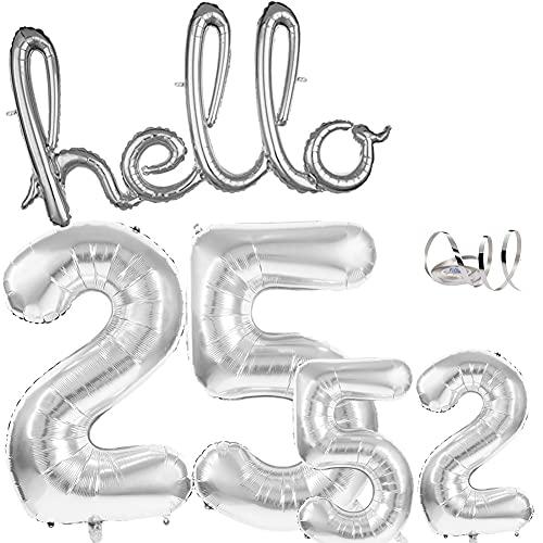 Hello 25 Cumpleaños de Globos Decoración de Cumpleaños Gigantes Globo Número 25 en 40 y 16 pulgadas globos de decoración de cumpleaños 25 años para hombres y mujeres