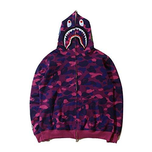 Ecolleciton®@Herren Pullover Camouflage Hoodie Kapuzenpullover Unisex Kapuzen-Sweatshirt (M, lila)