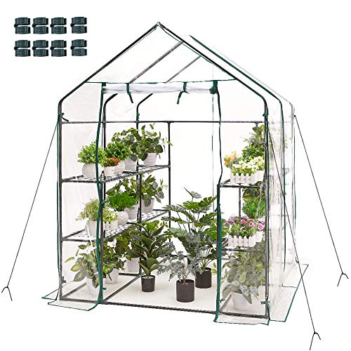 Walk-in Greenhouse Hot House 77x56x56 Inch Indoor Outdoor 3 Tier 8 Shelves with PVC Cover and...