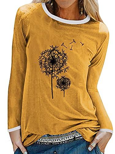 Tekaopuer Sudadera de manga larga para mujer, cuello redondo, holgada, casual, blusa con estampado de diente de león, 7-amarillo, M