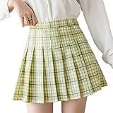 Huyghdfb Women Girls High Waist A-Line Pleated Skirt Skater Tennis School Mini Short Skirt with Lining Shorts (Green Plaid, XS)