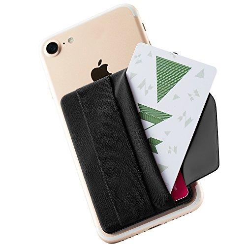 Sinjimoru Handy Kartenhalter mit Handygriff, Handy Halterung Finger mit Kartenfach, Smart Wallet, aufklebbare Mini Geldbörse mit Verschluss für iPhone und Android. Sinji Pouch B-Flap, Schwarz.