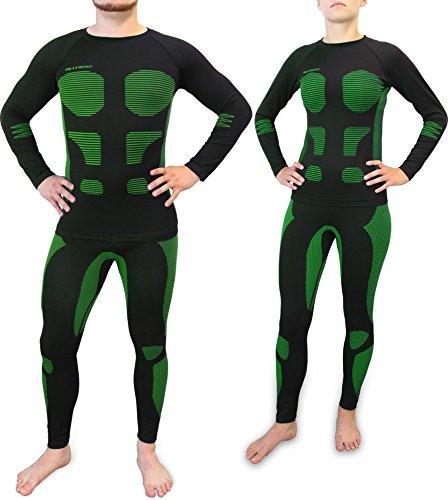 normani Ski Unterwäsche mit Elasthan Sport Funktionswäsche Garnitur (Hose + Hemd) für Damen und Herren Farbe AFW/Grün Größe L/XL