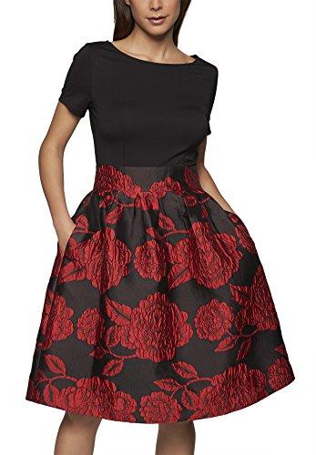 APART Fashion Damen Kleid, Schwarz (cranberry-schwarz 0), 36