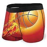 Sfera di pallacanestro infuocata che vola Verso l'alto su uno sfondo Nero Intimo maschile Intimo Piatto Cintura traspirante per Boxer con cinturino a Vista, XL
