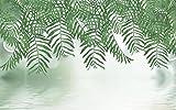 Papel Pintado Pared 3D Fotomurales Reflexión De La Onda De Agua De La Planta Verde Mural Pared Pintado Papel Tapiz Salón Dormitorio Tv Fondo Decoración De Pared 250x175cm