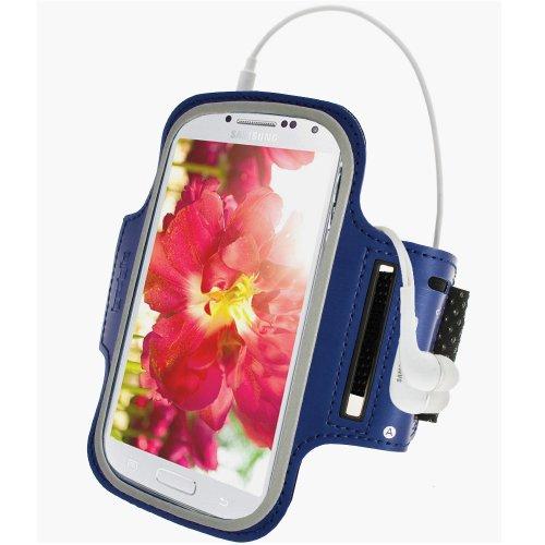 iGadgitz U3576 Riflettente Antiscivolo Fascia da Braccia Sport Jogging Gym Compatibile con Samsung Galaxy S6 SM-G920 con Chiave Tasca - Nero