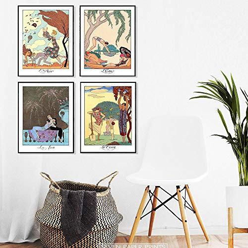 woplmh Ilustraciones de George Barbier Descargar Elementos Arte de la Pared Carteles e Impresiones Cuadro Decorativo Decoración Moderna del hogar / 30x40cmx4Pcs-Sin Marco