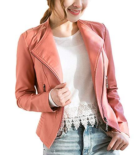 Chaquetas para De Cuero PU Mujer Otoño Blazers Chaqueta con Cremallera Cazadoras De Cortos Pink M