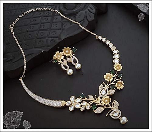 Elaborar con amor un combo de hermoso collar colgante/collar/colgante de latón con un par de pendientes hermosos/elegantes. Collar largo y elegante para fiesta de fiesta y mujer.