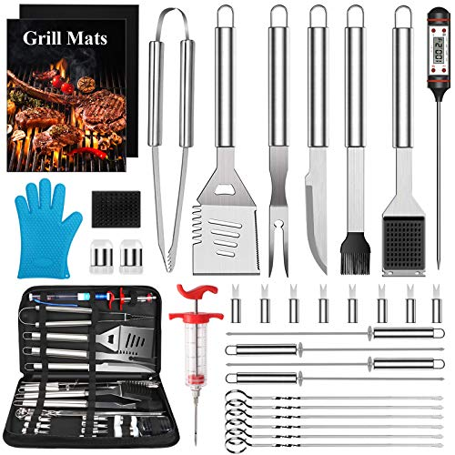 FoPcc BBQ Grill Accessories Grilling Tools Set, 33PCS Stainless Steel BBQ Accessories with Carry Bag, Barbecue Utensils Set for Camping, Kitchen, Outdoor, Perfect BBQ Tools Gift for Men Women