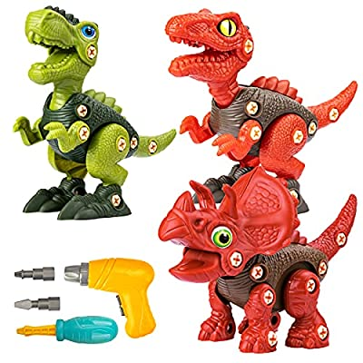 UTTORA Take Apart Dinosaur Toys for 3 4 5 6 7 Year Old Boys, Dinosaur Toy for Boys STEM Construction Building Toys with Electric Drill for Birthday Easter Gifts Boys Girls from UTTORA