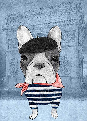 Feeling at home CANVAS-FRAMED-with-AMERICAN-BOX-French-Bulldog-with-Arc-de-Triomphe-Animals-wall-decore-on-wood-frame-Vertical-39x27_in