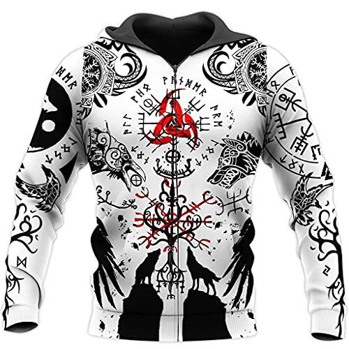 Viking Mythical 3D Reversible Crow, Árbol De La Vida, Sudadera con Capucha De Tatuaje con Estampado De Nudo Irlandés Sudadera con Capucha De Streetwear Escandinavo,Zipper Hoodies,XXL