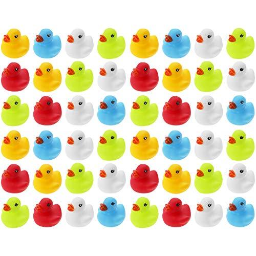 WELLGRO 48 Badeenten - bunt (gelb, rot, weiß, blau, grün), je Ente ca. 5,5 x 5 cm (ØxH), Gummiente