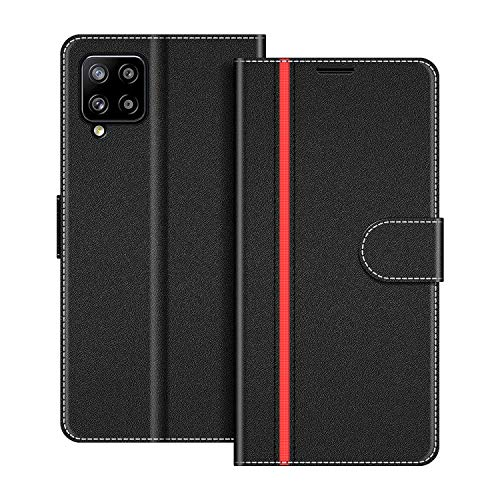 COODIO Handyhülle für Samsung Galaxy A42 Handy Hülle, Samsung Galaxy A42 Hülle Leder Handytasche für Samsung Galaxy A42 5G Klapphülle Tasche, Schwarz/Rot