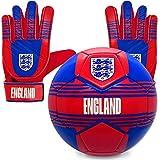 Inglaterra - Juego Oficial de Guantes de Portero y balón de Talla 4 - para niños - Niños: 5-10 años