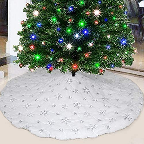 party club White Fur Christmas Tree Skirt 48 inches with Sparkly Silver Snowflake Sequin, Luxury Faux Fur Holiday Chr...