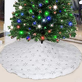 party club White Fur Christmas Tree Skirt 48 inches with Sparkly Silver Snowflake Sequin, Luxury Faux Fur Holiday Christmas Decorations Xmas Party Decor