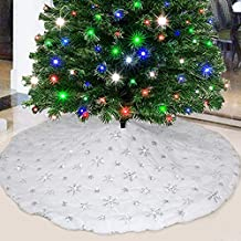 Party Club White Fur Christmas Tree Skirt 48 inches with Sparkly Silver Snowflake Sequin, Luxury Faux Fur Holiday Christma...