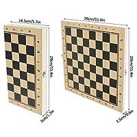 Scacchi in Legno 3 in 1 Set di Scacchiera in Legno Dama Giocattolo da Backgammon Pieghevole Portatile per Viaggio Giocattoli Educativi per Adulti Bambini (29x29 cm) #6