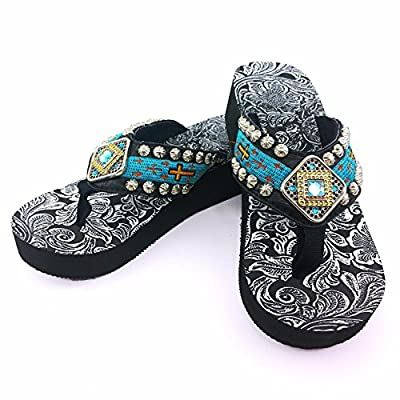 Western Peak Women's Concho Rhinestones and Stud with Embroidery Turquoise PU Flip Flop (9)