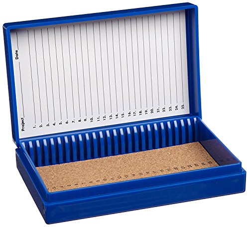 Heathrow Scientific HS15989A 25-Place Cork Lined Slide Box, Friction Fit, ABS, Cork, Blue