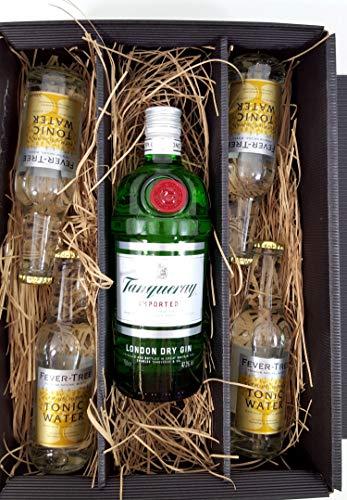 Gin Tonic Set/Geschenkset ? Tanqueray London Dry Gin 0,7l 700ml (47,3% Vol) + 4x Fever-Tree Tonic Water 200ml - Inkl. Pfand MEHRWEG