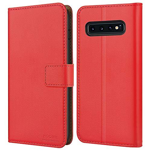 HOOMIL Handyhülle für Samsung Galaxy S10 Hülle, Premium Leder Flip Schutzhülle für Samsung Galaxy S10 Tasche - Rot