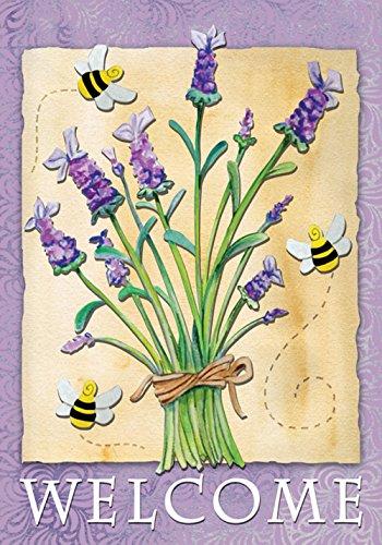 Toland Home Garden Lavender Welcome 12.5 x 18 Inch Decorative Spring Summer Buzzing Bee Flower Garden Flag