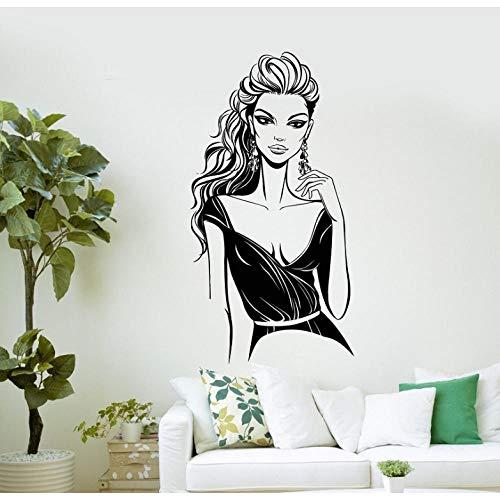Vinilo de pared Sexy mujer Salón de belleza Spa vestido de noche vestido de vinilo etiqueta 42X80Cm