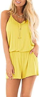 REORIA Womens Summer Loose V Neck Spaghetti Strap Short Jumpsuit Rompers